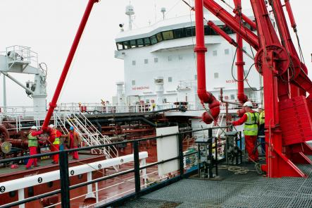 Discharging fuel at the Avonmouth oil basin