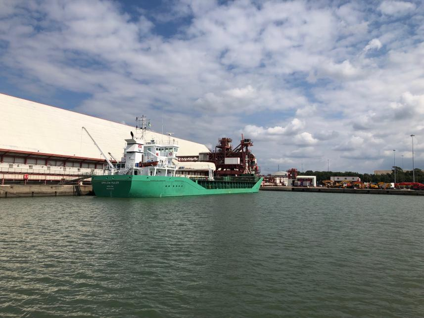 Arklow Ruler pictured at Royal Portbury Dock being loaded with grain for Openfield, with the Port's Grain Terminal to the right.
